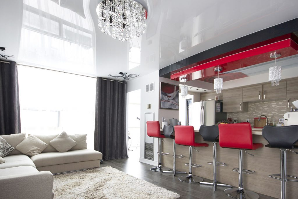 Family Rooms with reflective stretch and printed ceiling