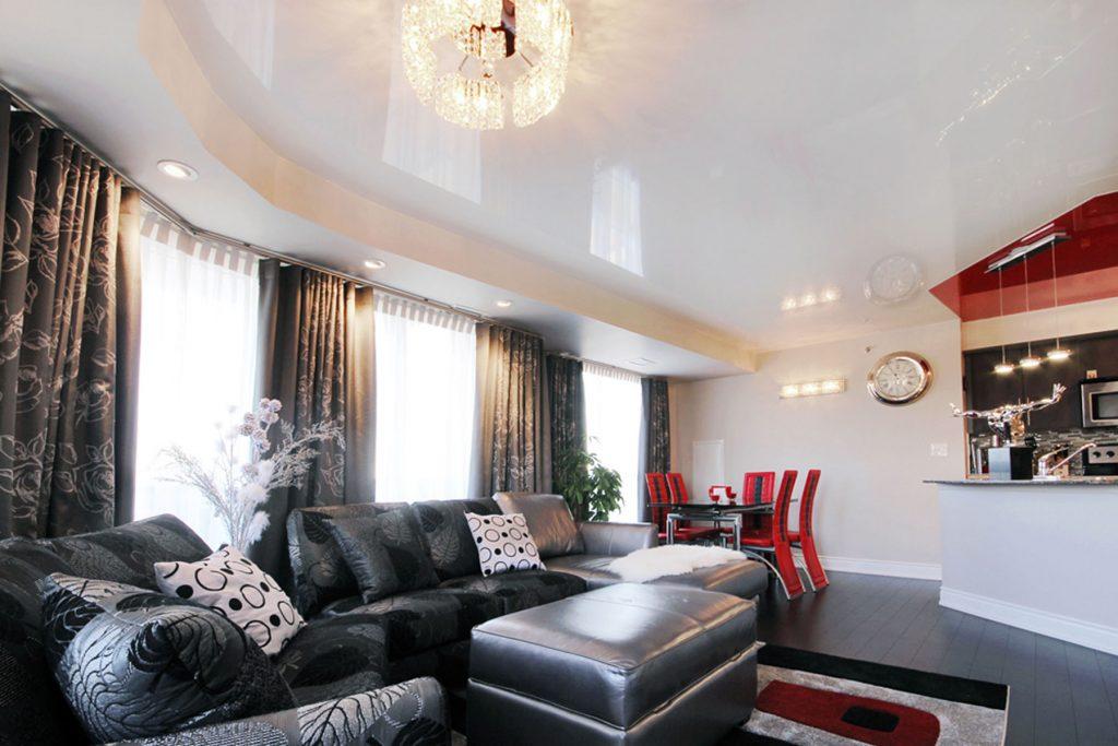 custom living room with high gloss stretch ceiling Mumbai