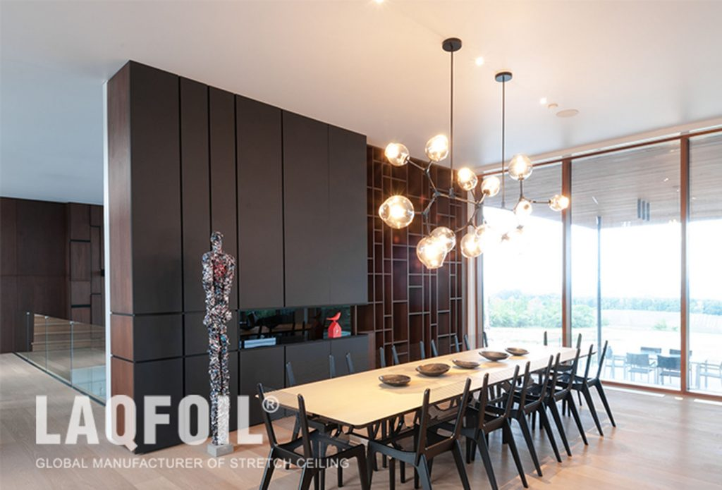 luxury dining room with reflective stretch ceiling