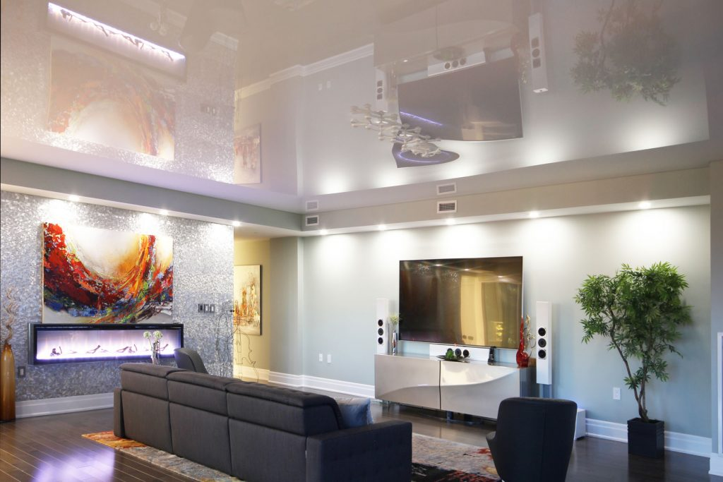 back lit high gloss stretch ceiling and custom wall mural