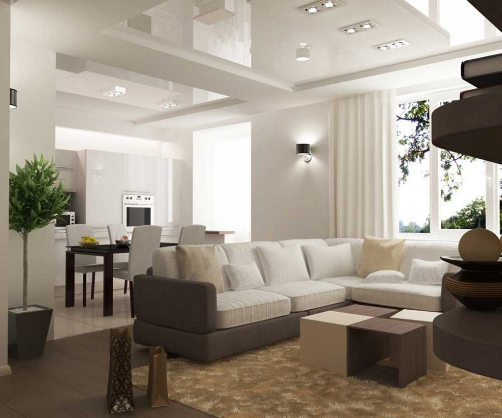 multilevel glossy stretch ceiling in custom living room by laqfoil mumbai