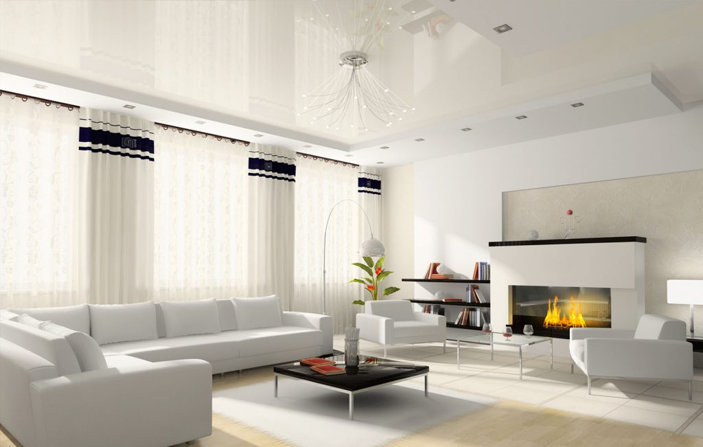 modern living room with build in fire place and white reflective stretch ceiling