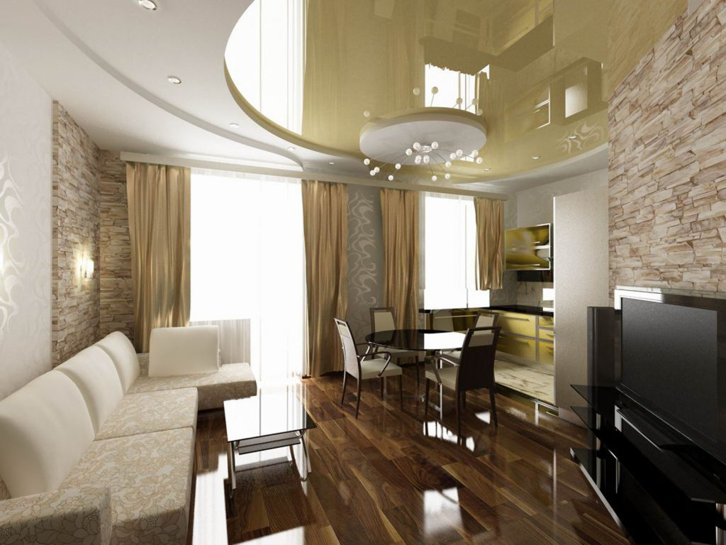 multilevel high gloss stretch ceiling and custom wall cover in luxury family room