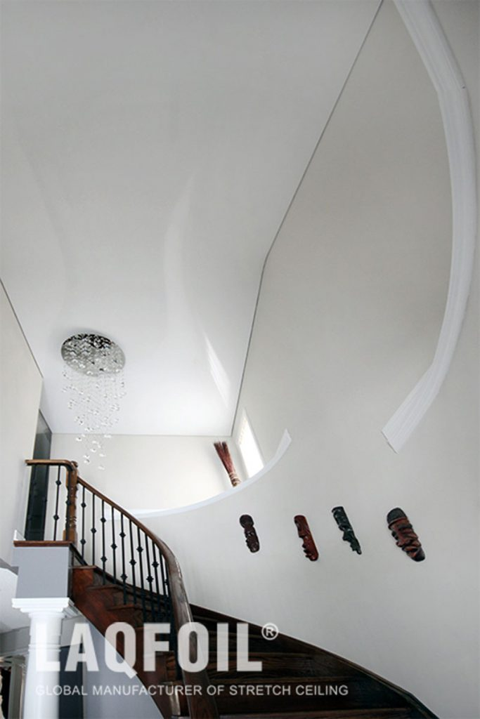 foyer with reflective stretch ceiling kelowna