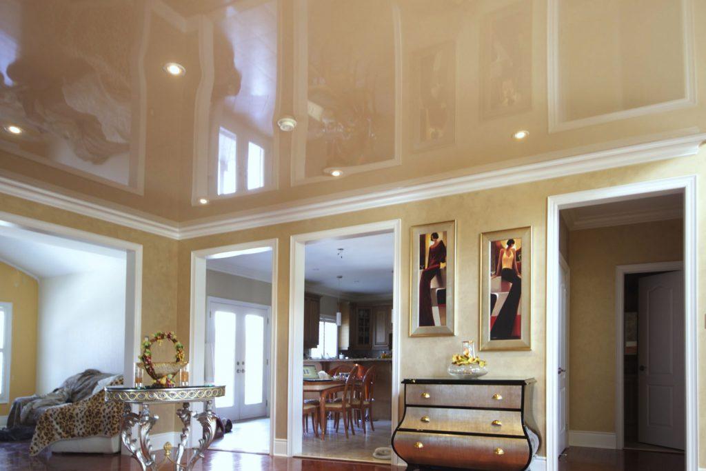 orange high gloss stretch ceiling in custom hallway