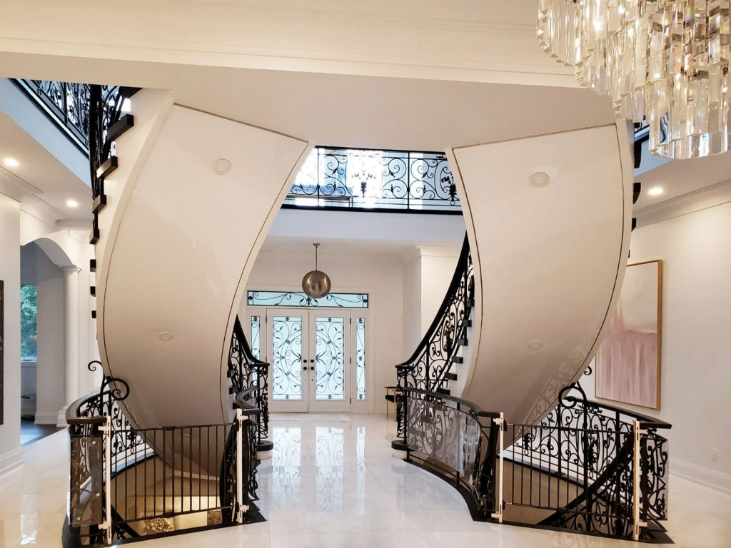 stretch ceiling mirror effect on luxury staircase