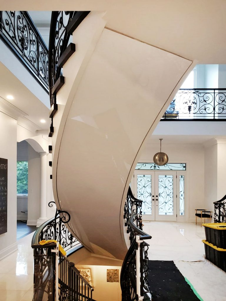 custom staircase with reflective stretch ceiling