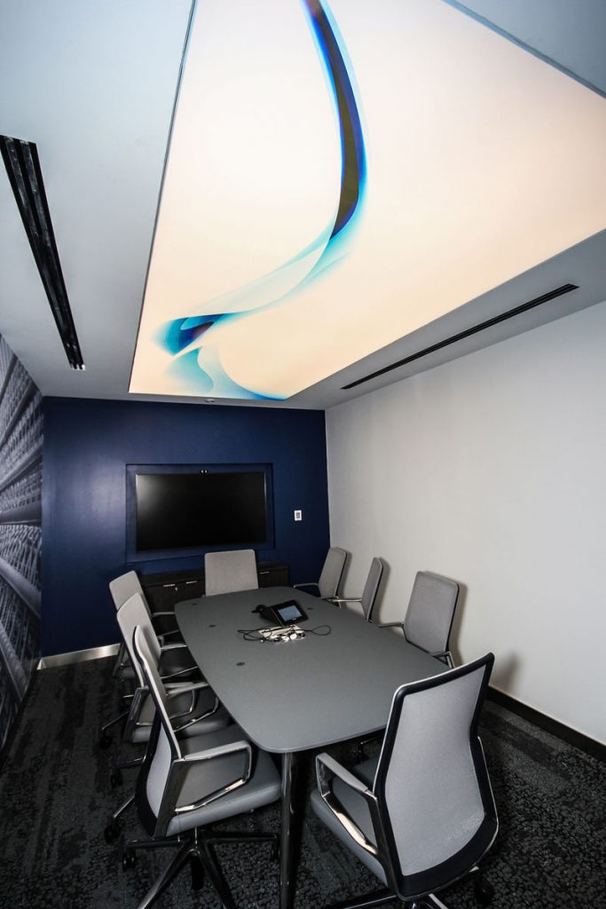 custom office with stretch ceiling decor and custom wall cover USA
