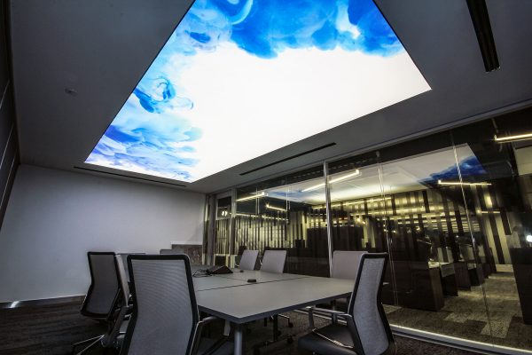 blue smoke stretch ceiling backlit in luxury office in canada