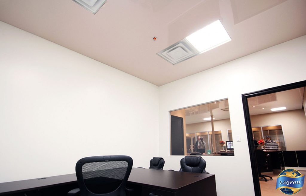 luxury office with custom pink high gloss stretch ceiling CANADA