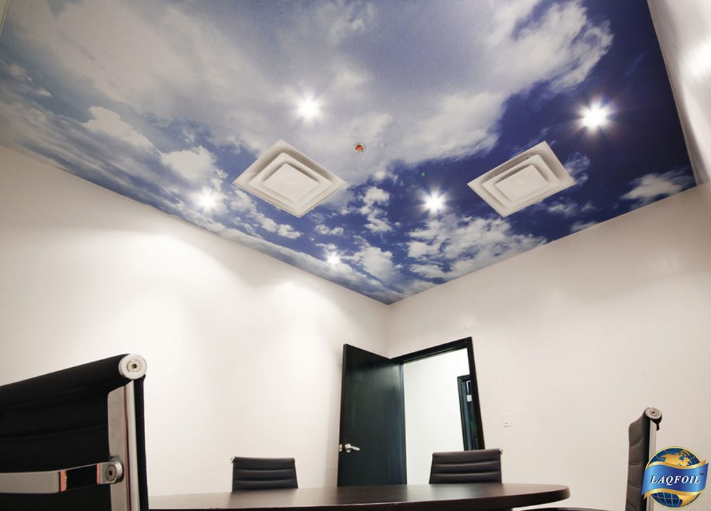 luxury meeting room with custom printed ceiling of the sky