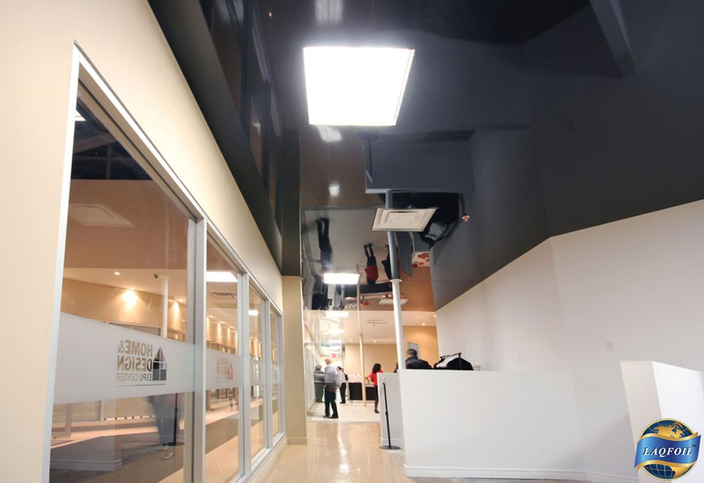 office reception area with black custom gloss stretch ceiling