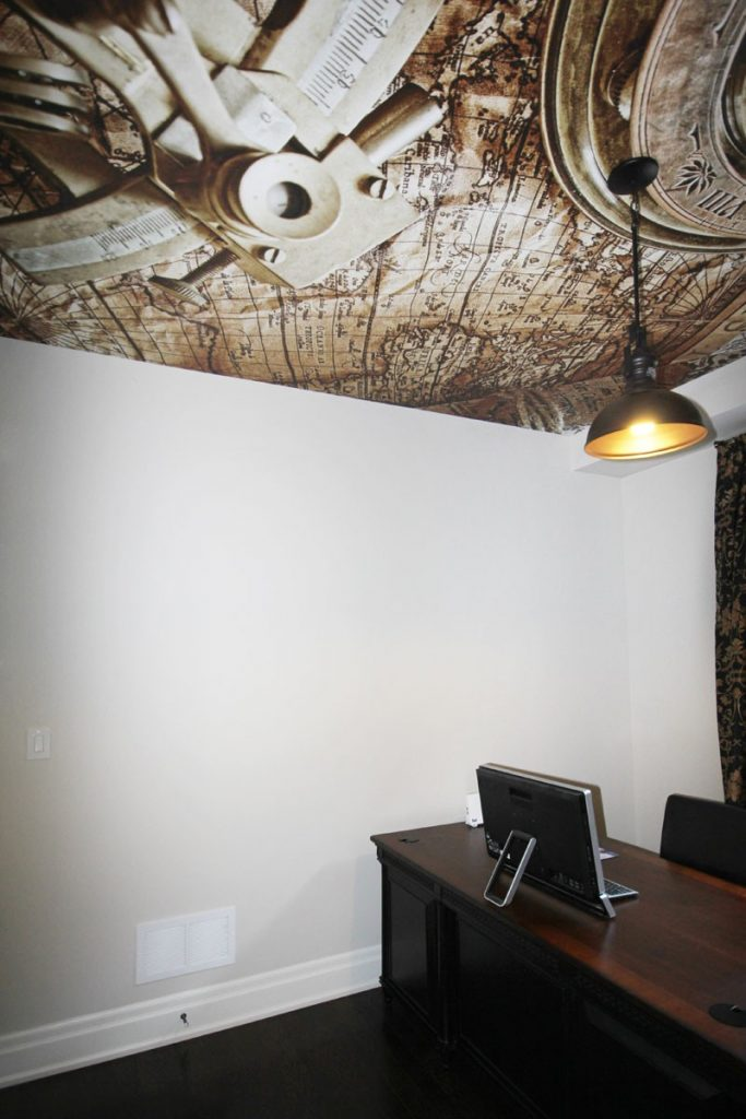 Printed Ceilings in modern home office-stretch ceiling technology
