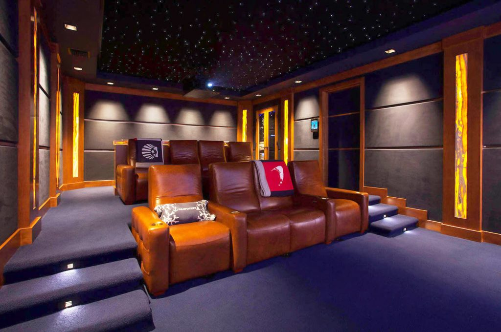 Home Theater with Starry Sky Ceiling and pot lights