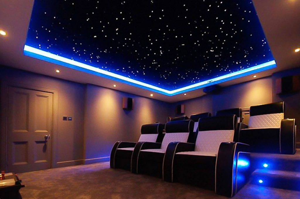 Linear Lights Starry Sky Ceiling in amazing home theater Toronto