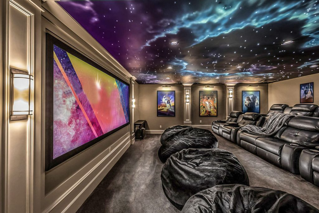 amazing back lit Starry Sky Ceilings in custom home theater