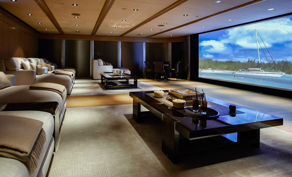 multilevel stretch ceiling in luxury home theater