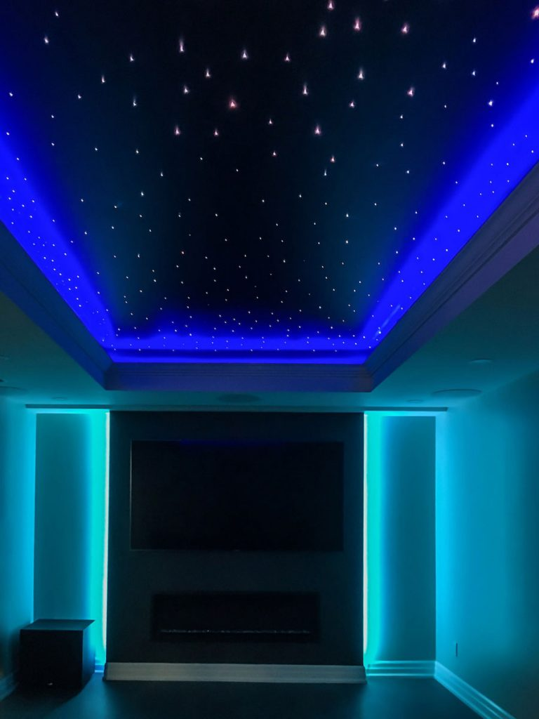 amazing Starry Sky Ceilings with Linear Lights and back lit wall