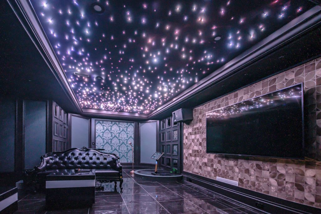 back lit Linear Lights Ceilings in basement home theater