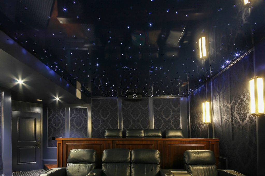 Starry Sky Ceilings and custom wall cover in luxury home theater