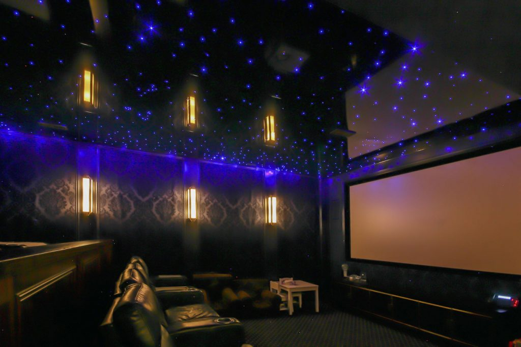back lit Starry Sky Ceilings in luxury home theater by laqfoil mumbai