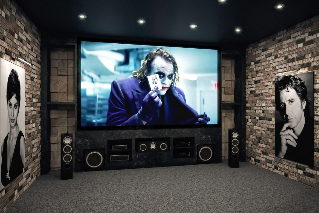 Home Theater reflective black stretch ceiling and printed wall murals