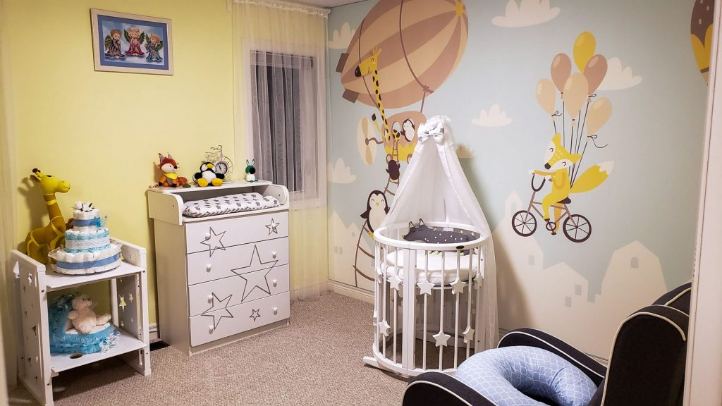 printed wall mural in luxury kids room