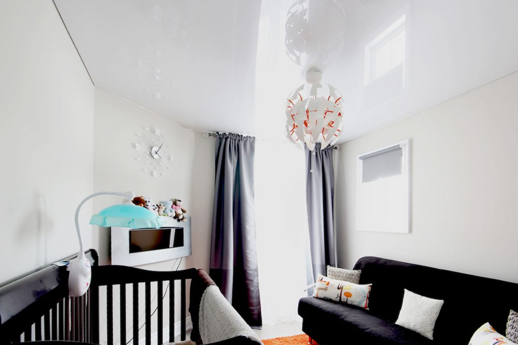 white high gloss stretch ceiling in luxury kids room