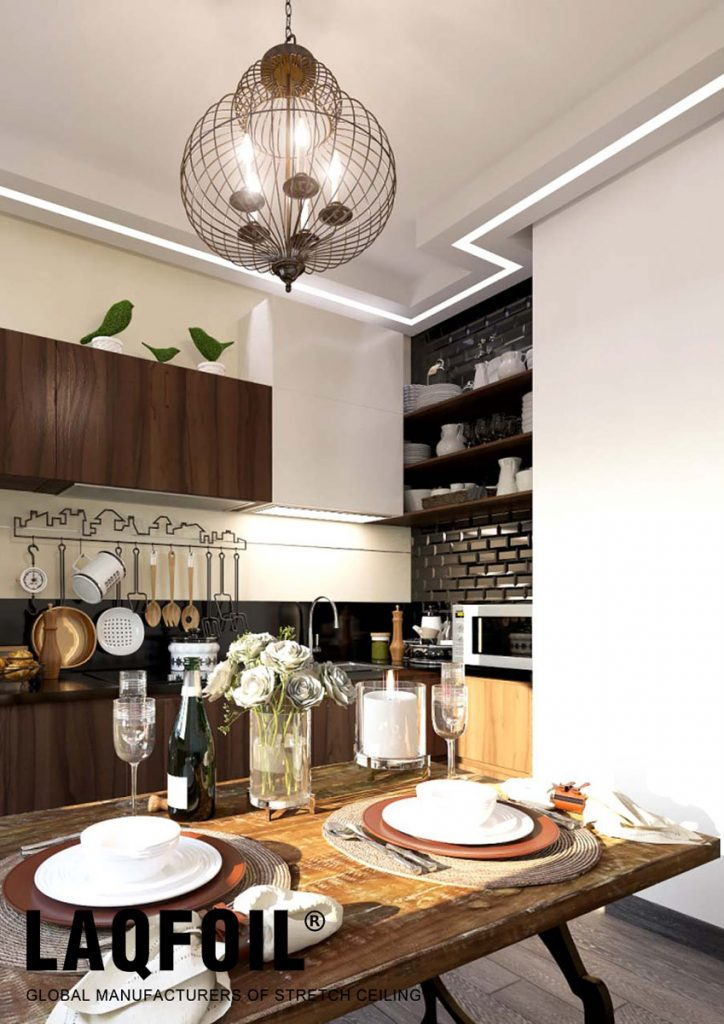 custom kitchen with reflective stretch ceiling and Linear Lights