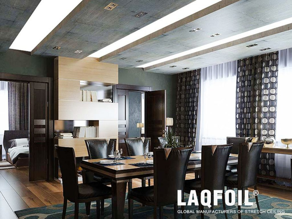 dining room with Linear Lights and green stretch ceiling