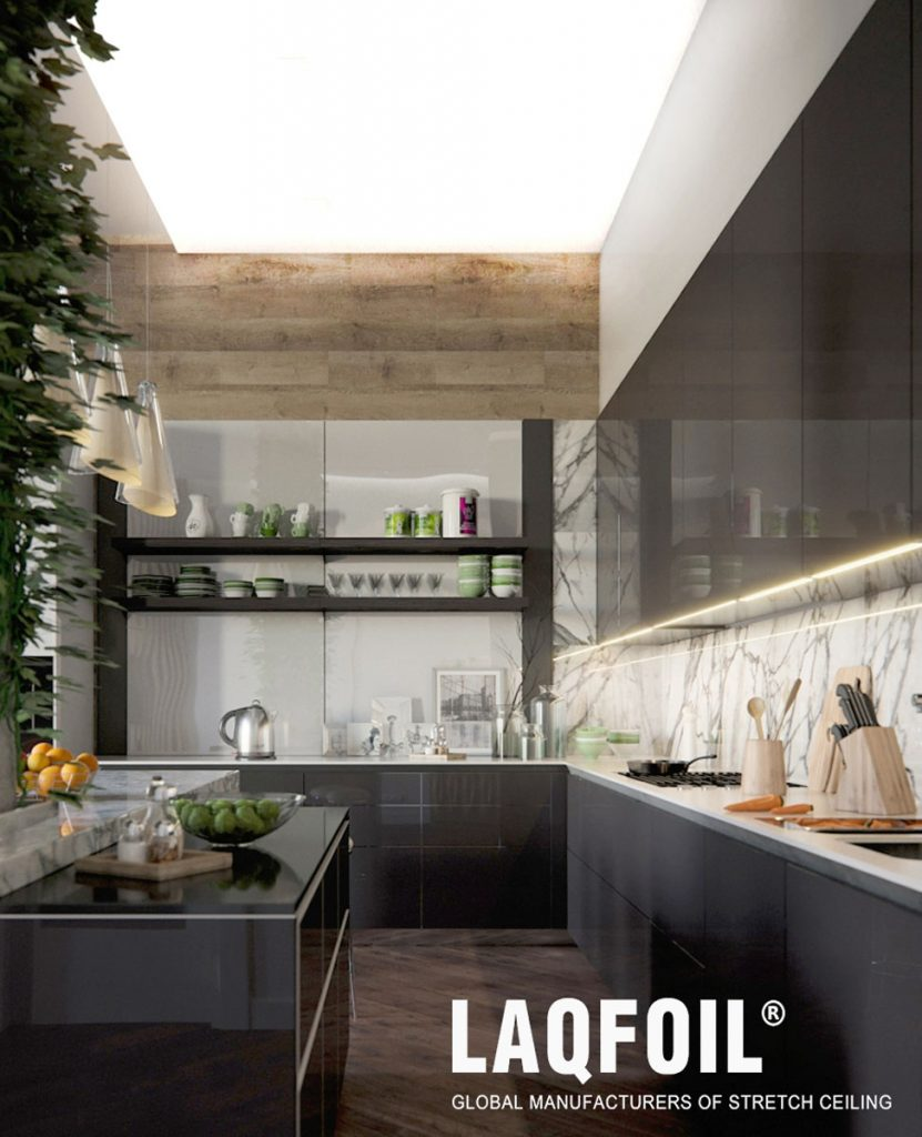 modern kitchen with backlit high gloss stretch ceiling