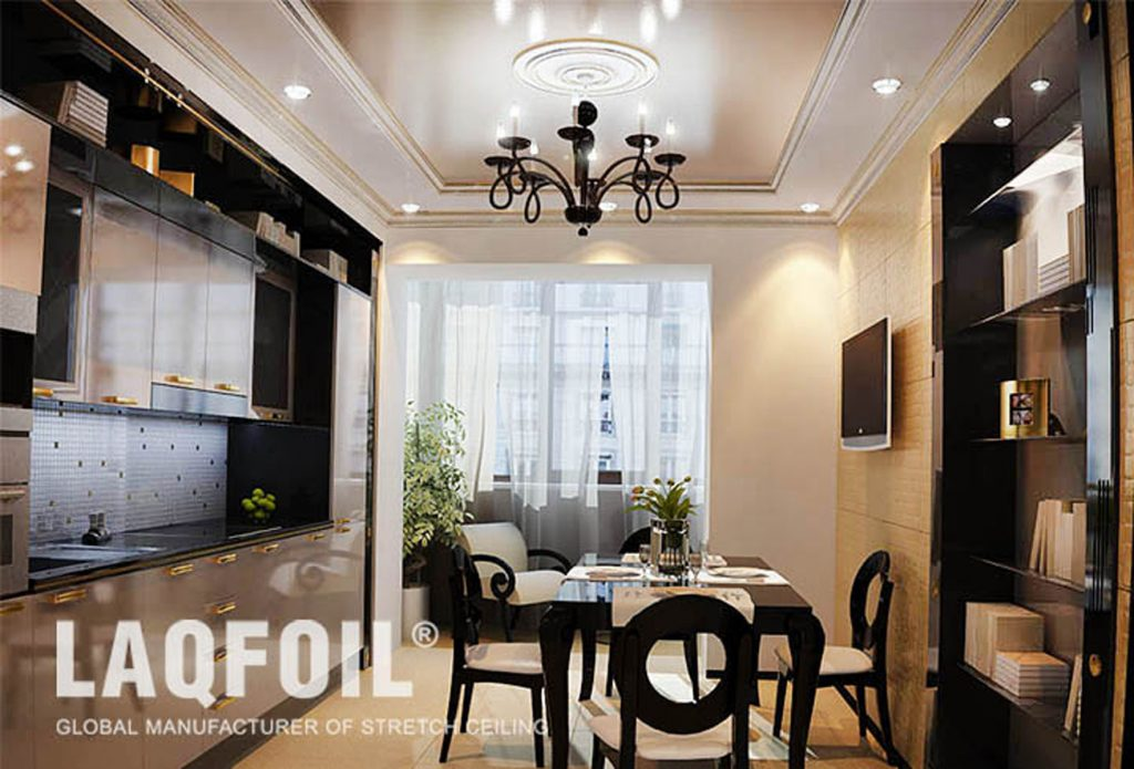 multilevel stretch ceiling in custom kitchen