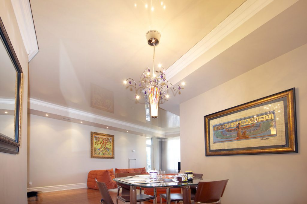 beige stretch ceiling glossy in luxury dining room