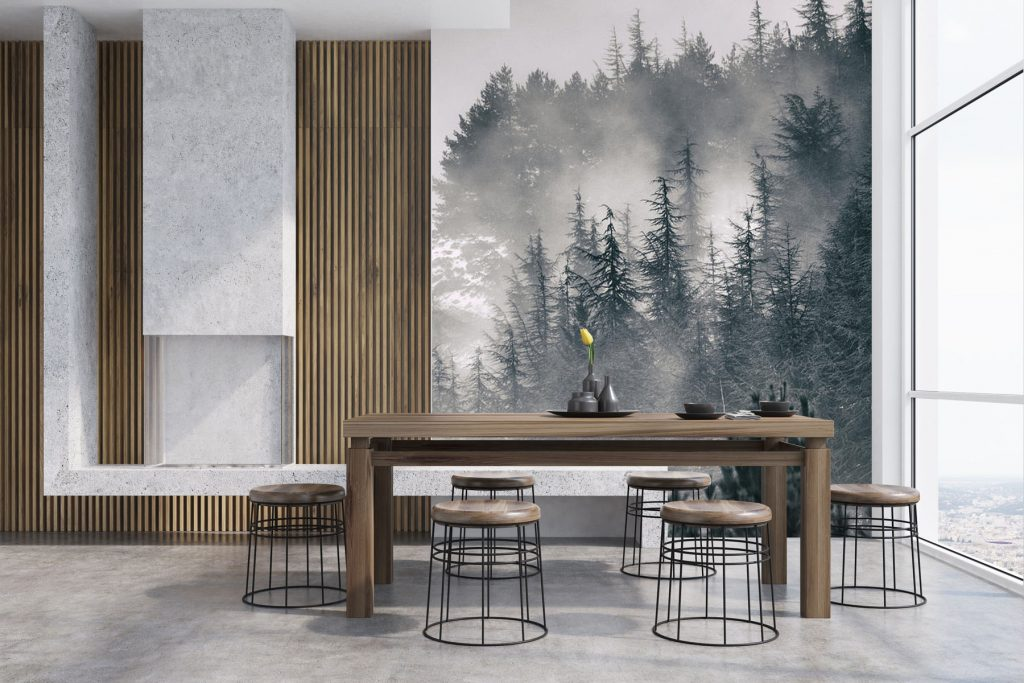 custom wall cover in luxury dining room