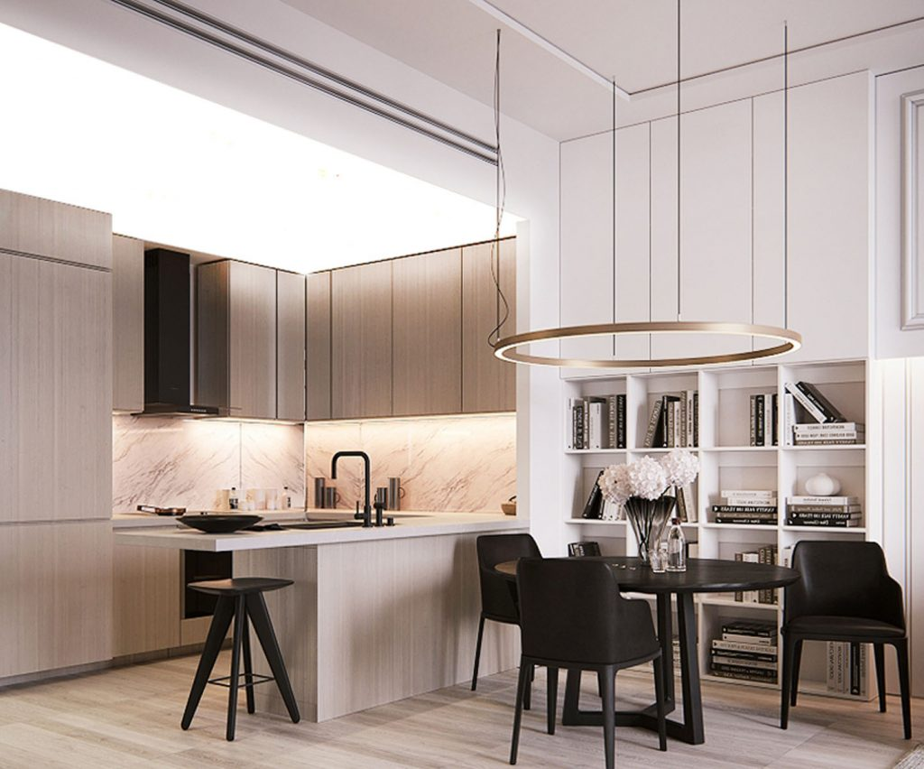 Kitchen and Dining room with multilevel backlit ceiling