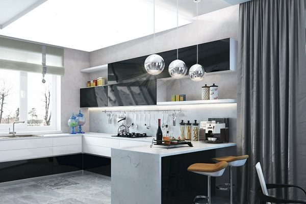 modern kitchen with multilevel backlit gloss stretch ceiling