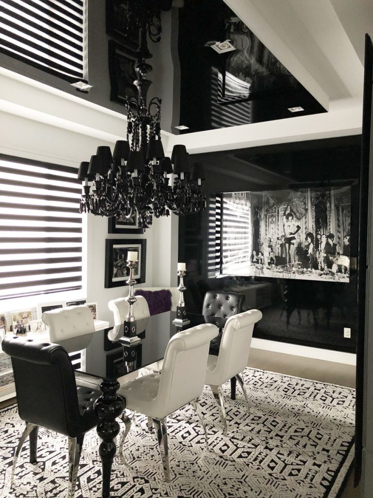 amazing dining room with black high gloss stretch ceiling and printed wall mural