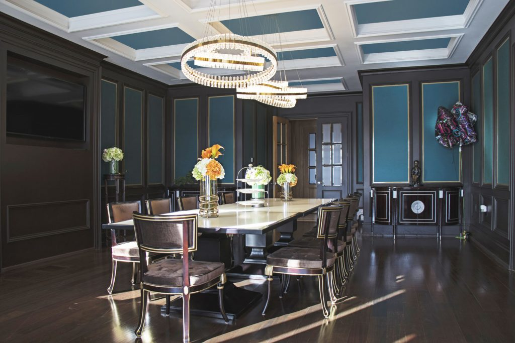 classic dining room with multilevel blue stretch ceiling