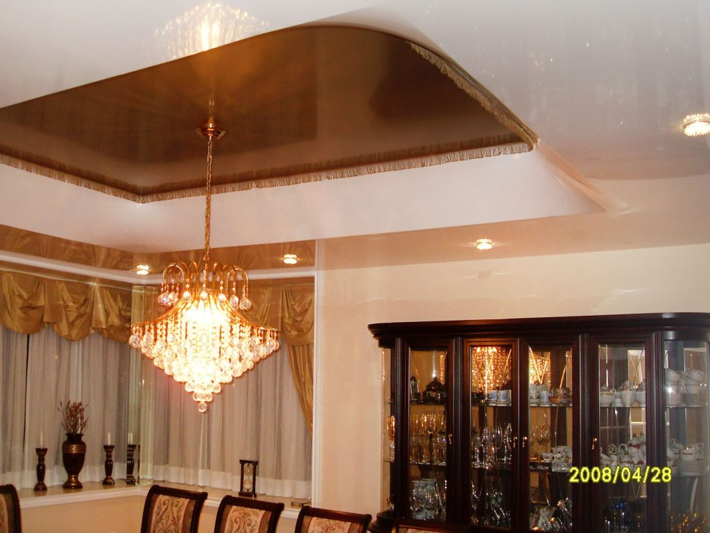 multilevel glossy stretch ceiling in custom dining room by laqfoil