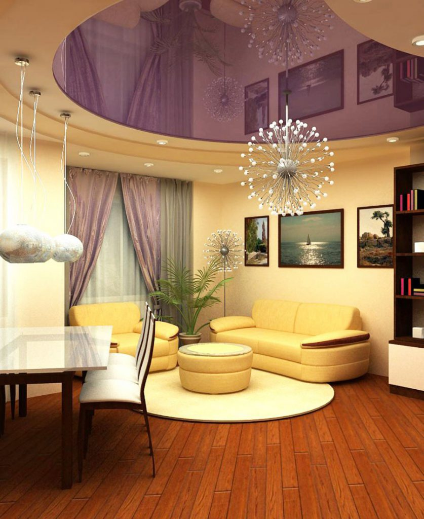 amazing living room with purple reflective stretch ceiling