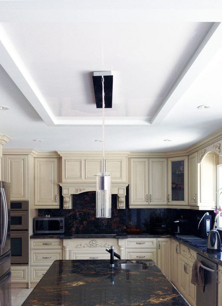 luxury kitchen with white reflective stretch ceiling