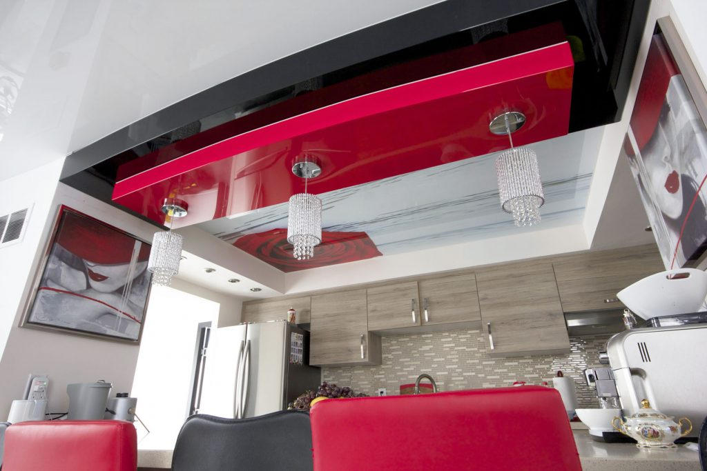 multilevel custom printed ceiling and reflective red and black ceiling by laqfoil