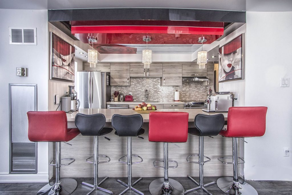 amazing kitchen with multilevel red and black high gloss stretch fabric
