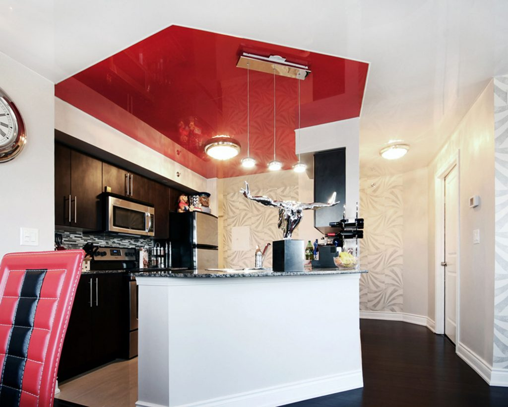 amazing kitchen with multilevel white and red high gloss stretch ceiling Singapore