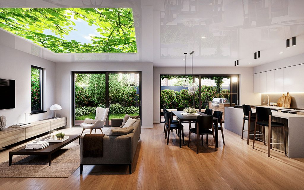 Kitchen & Dining reflective and nature printed ceiling