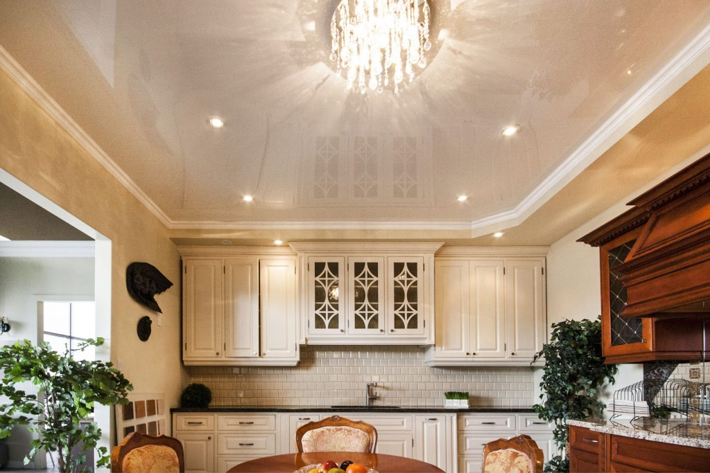 Kitchen & Dining reflective beige ceiling and potlights