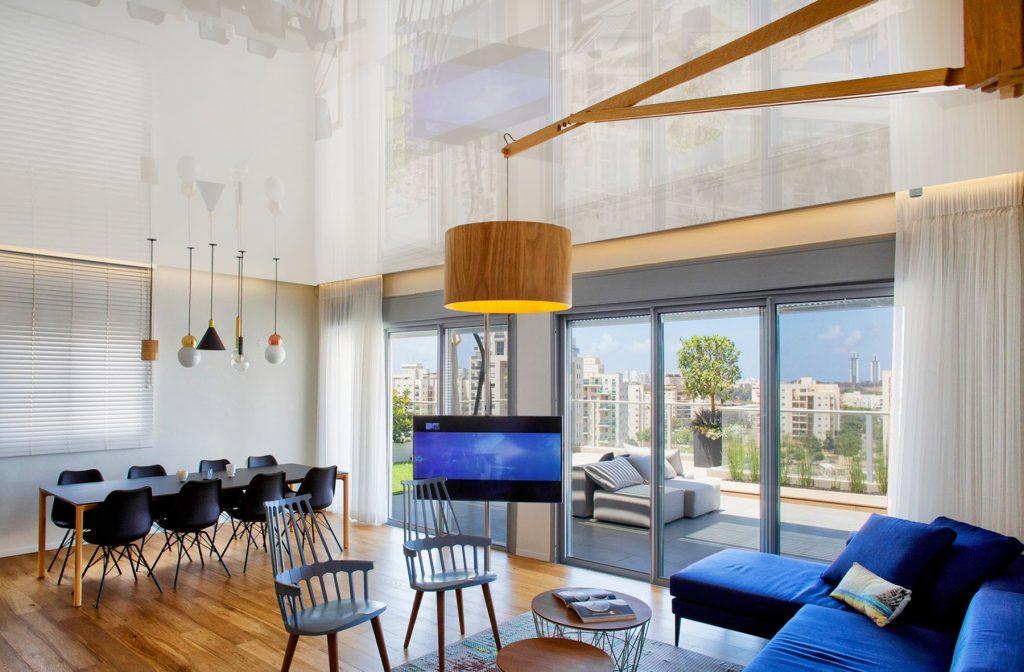 amazing condo apartment living room with high gloss stretch ceiling USA