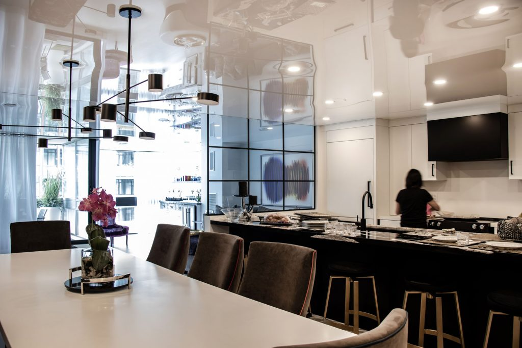 huge kitchen and dining room with stretch ceiling mirror effect italy