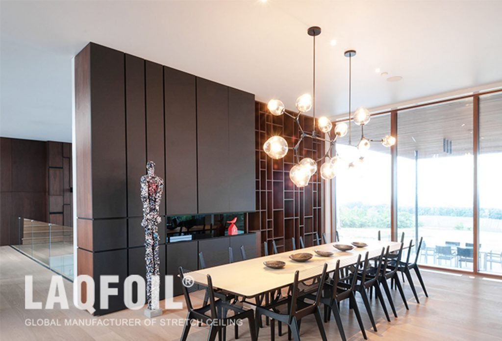 luxury Dining room with white reflective stretch ceiling