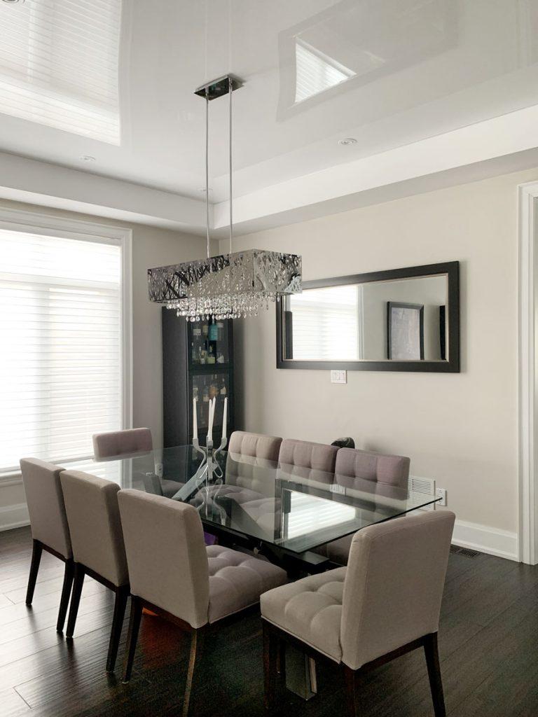 Kitchen & Dining reflective ceiling and glass table